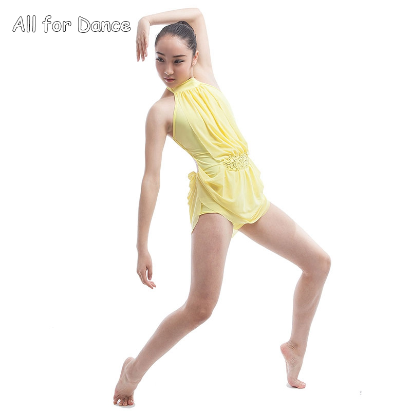 Lyrical Biketard Design Dress Ballet Costume Yellow Spandex Bodice Dance Dress Lady Dance Costume image