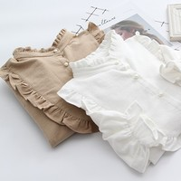 Ruffled Collar 100 Cotton Lon Sleeve Lolita Shirt Blouse Female Mori Girl