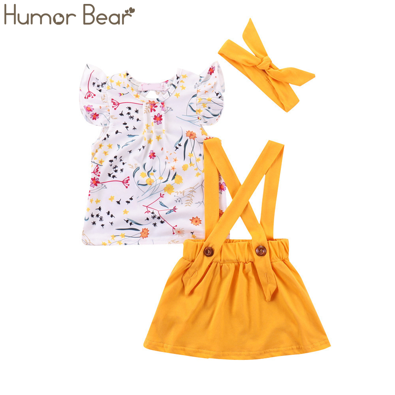 Humor Bear Summer Baby Girls Summer New Clothes Suit Fly Sleeve T-shirt Tops+Floral Skirt+Headband Kids Party Princess Clothing 1
