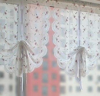 bordado rosa globo cortina para la puerta y la cocina blanca cortina de la cocina cortina