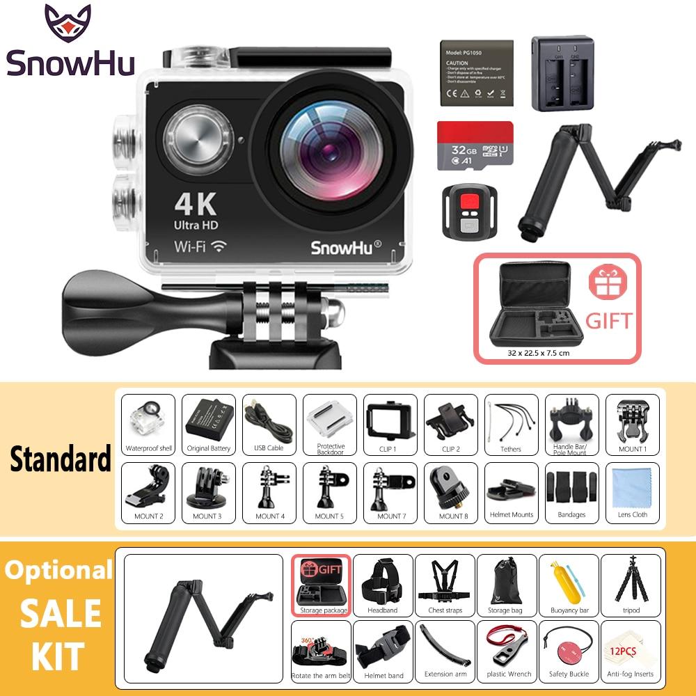 Nouveauté Original SnowHu H10R Ultra HD 4 K caméra d'action 30 m étanche 2.0 'écran 1080 p caméra sport go extreme pro cam H10R