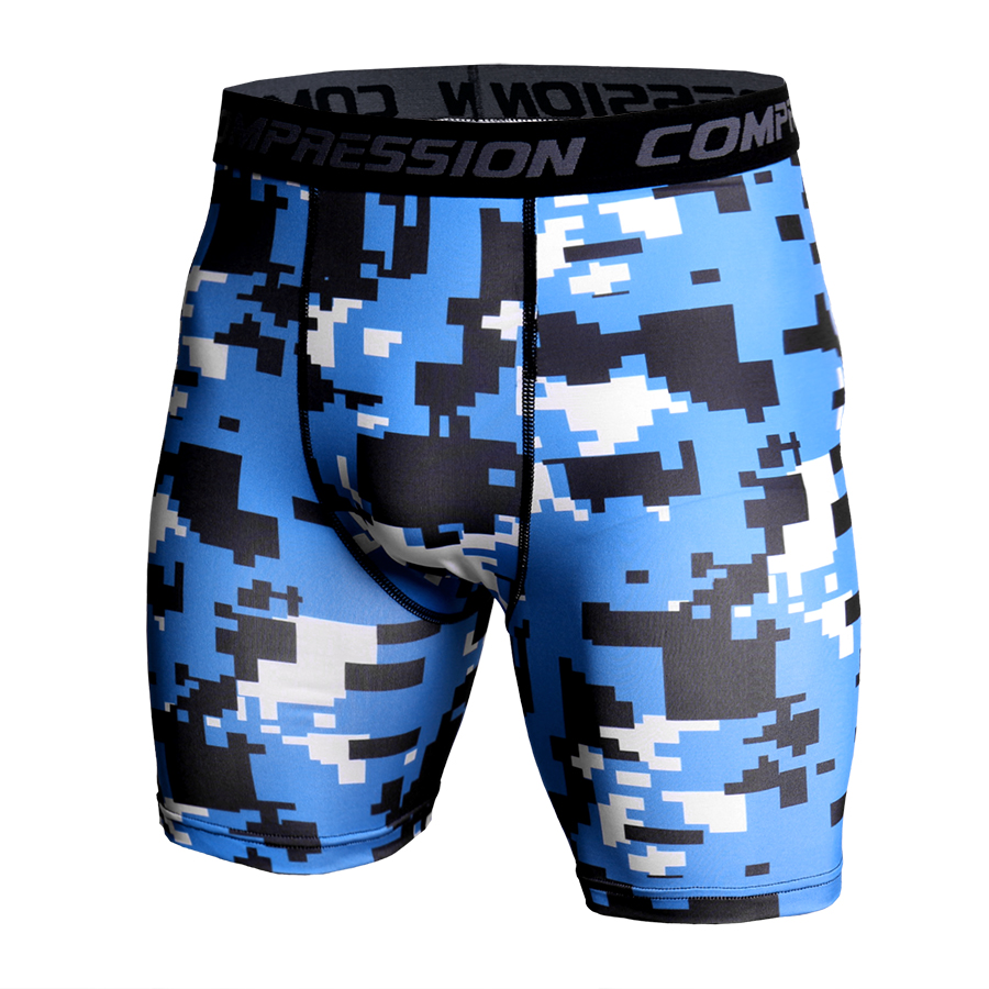Skinny Shorts Men Casual Compression Elastic Waist Short Homme Fashion Quick Dry Camouflage Printed Compression Shorts