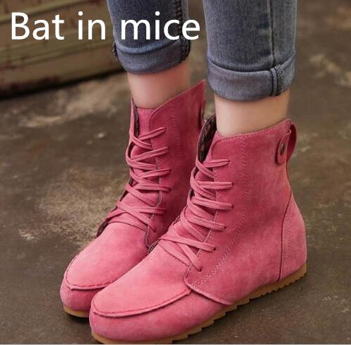 Bat in mice 2017 Women Autumn Winter Warm Snow Martin Ankle Boots Lace Up Bottine Platform Flats Shoes Booties plus size 40 #888 fashion genuine leather hollow lace style winter martin boots women warm snow shoes ankle woman bottine ladies platform femme
