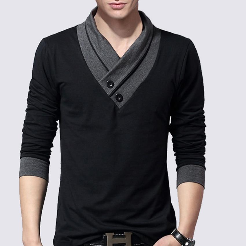 Men's Deep V neck Long sleeve t shirt Slim Fit t-shirt men Skinny casual Autumn Spring tshirt camisetas hombre Men Clothes Tops