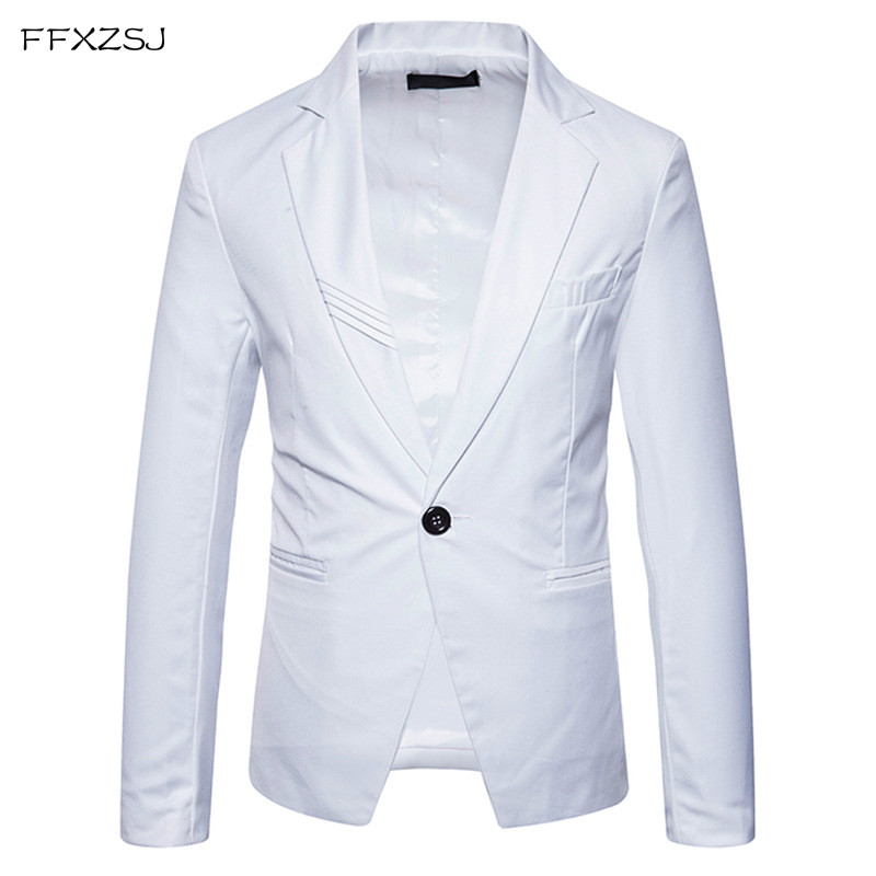 FFXZSJ 2018 spring England style Unique Striped collar design suit men casual Slim solid color suit for men size S XXL