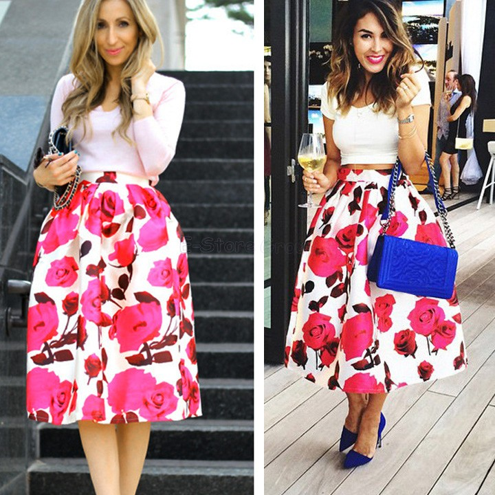ba60e2471 Women LOSHOW Womens Vintage Floral Print A-Line Flared Pleated Midi Skirt  Clothing