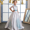 Fancy Flower Girl Dress with Mint Ribbon Bow Half Sleeves Crew Neck Mesh Ball Gowns Kids Holy Communion Dresses  For Christmas