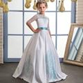 Vestido de la Muchacha de Flor de lujo con Menta Cinta Arco Medias Mangas Cuello redondo de Malla Niños Vestidos De Bola Comunión Vestidos Para navidad
