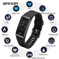 SANDA IP67 Pressão Arterial Monitor de Freqüência Cardíaca À Prova D' Água Relógio Inteligente Bluetooth Aptidão Das Mulheres Dos Homens Smartwatch Para Android IOS|Relógios digitais| |  -