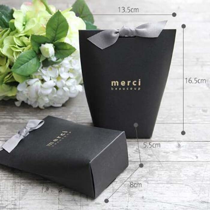 50pcslot L Size Merci Beaucoup White Black Gift Paper Cake Wedding