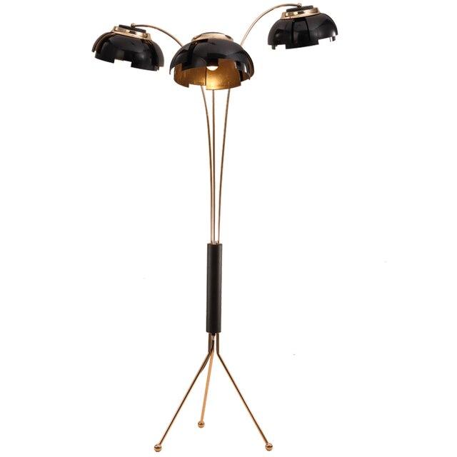 Creatieve eenvoudige vloerlamp post moderne 3 arm staande lamp zwart ...