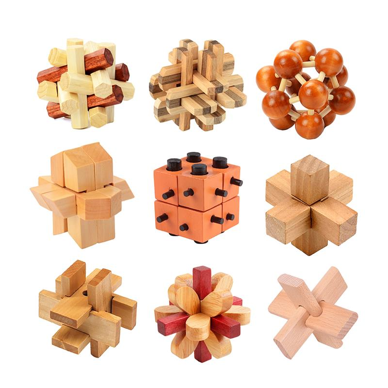 Luban Lock Wooden Interlocking Puzzle Games Wooden Brain Teaser Jigsaw Puzzles Gift For Kids Adults Hexagonal Multi Type Fun Toy