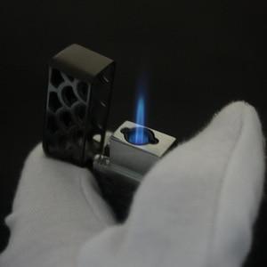 Image 2 - Oco livre fogo duplo jato de fogo mais leve gás 1300 c butano gadgets tocha turbo isqueiro à prova de vento tubo de charuto de metal mais leve para o homem