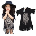 Short sleeve 2017 New Girl Summer Fashion Printed Dress Baby Girls Leisure Cotton Children's Clothing Christmas tassel dresses