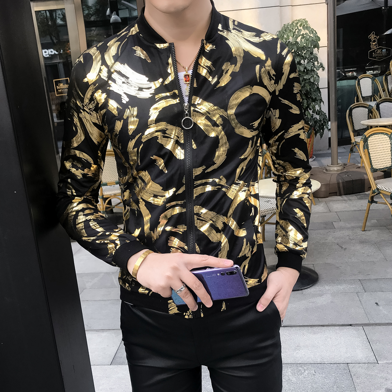 Summer Gold Black Silver Baseball Jacket Men Bomber Print Jacket Men Chaqueta Hombre Fashion Prom Club Party Sunscreen Jackets(China)