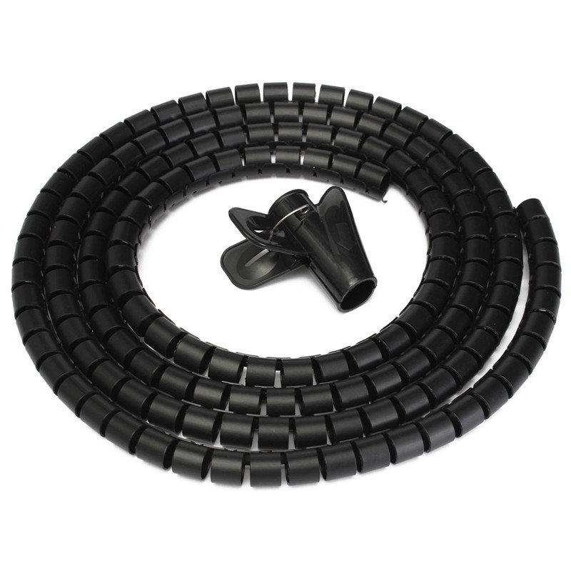 2M CABLE TIDY KIT PC TV Wire Organising Wrap Tool Spiral Floor Protector Hot Sale uxcell hot sale 10mm outside diameter 10m length spiral cord cable wire tidy wrap hide banding organizer management black
