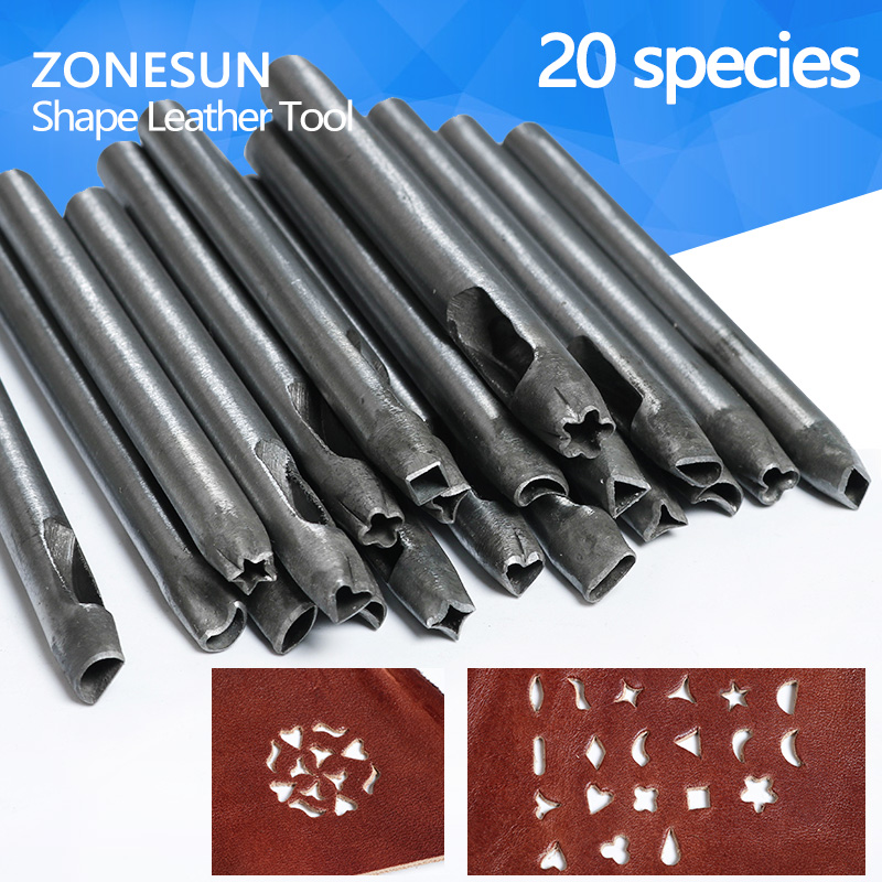 ZONESUN Hot Sale Leather Punching Tool DIY Shape Watch Belt Hollow Hole Hand Punch Set Flower heart Star Shape Making best price mgehr1212 2 slot cutter external grooving tool holder turning tool no insert hot sale brand new