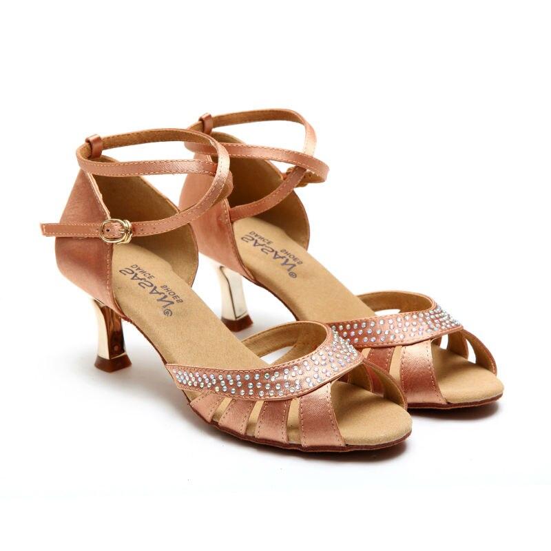 Party Ballroom Professional Dance Shoe Latin Dancing Sneakers Diamond Flesh Fitness andningsvuxen Ladies Aerobics Shoe S-123