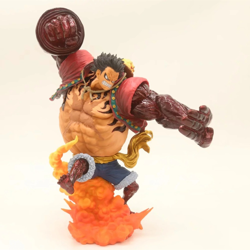 Anime One Piece The Bound Man Monkey D Luffy Gear 4 Kong Gun Crimson Color Ver. PVC Action Figure Collectible Model Toys Doll image