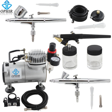 цена на OPHIR Professional 3 Gun Airbrush Dual-Action & Single-Action Kits Air Compressor Hobby Set 110V,220V#AC089+004A+071+073