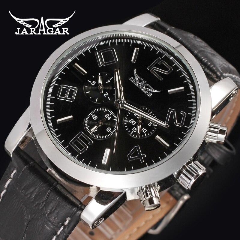 JARAGAR Men Luxury Tourbillion Automatic Mechanical Watch Big Number Leather WristWatch Gift Box Relogio Releges 2016