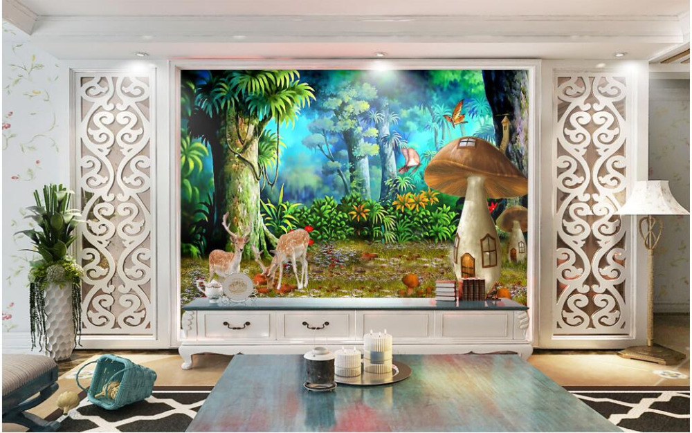 3d wallpaper custom photo non-woven forest mushroom sika deer 3d wall murals wallpaper for walls 3 d room decoration painting