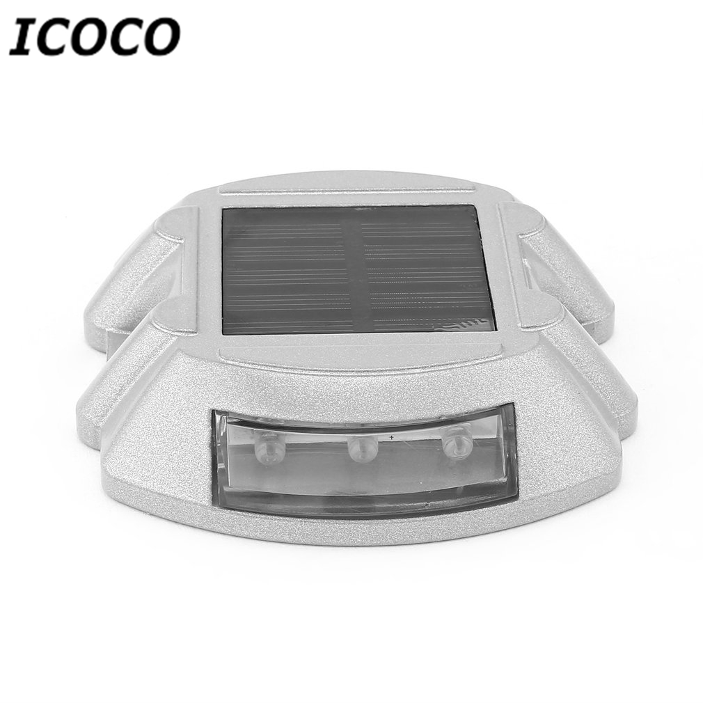 ICOCO 6 LEDs Solar Power Aluminum Alloy Spike Light Traffic Signal Light Villa Landscape Drive Lamp Waterproof Road Path Lamp