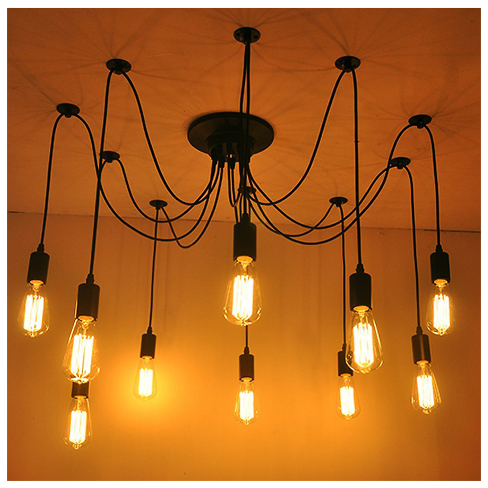 Vintage Edison Multiple Adjustable DIY Ceiling Spider Lamp Light Pendant Lighting Modern Chic Industrial Dining practical 8 lights vintage edison lamp shade multiple adjustable diy ceiling spider lamp pendent lighting chandelier moder