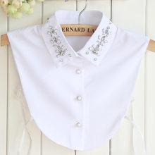 Fake Collars Women Korean Chiffon Small Silver Beaded Removalbe Blouse Kraagie Nep Tunic Vestido Faux Cols False Collar Custom