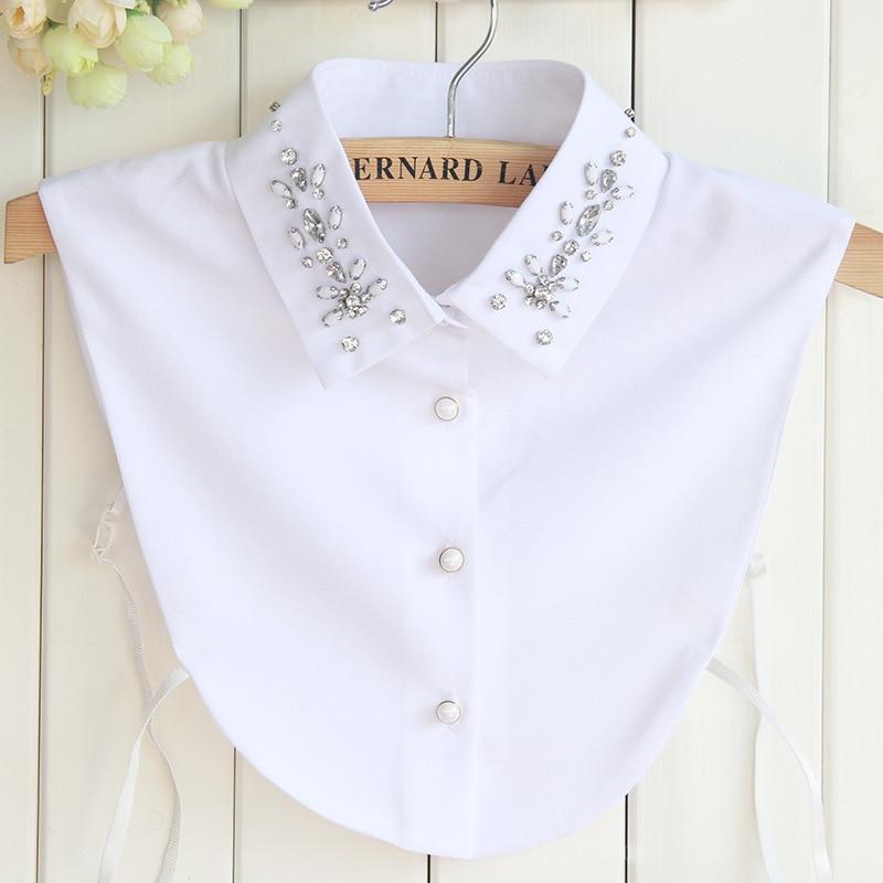 Korean Chiffon Small Silver Beaded Removalbe Fake Collars Women Blouse Kraagie Nep Tunic Vestido Faux Cols False Collar Custom