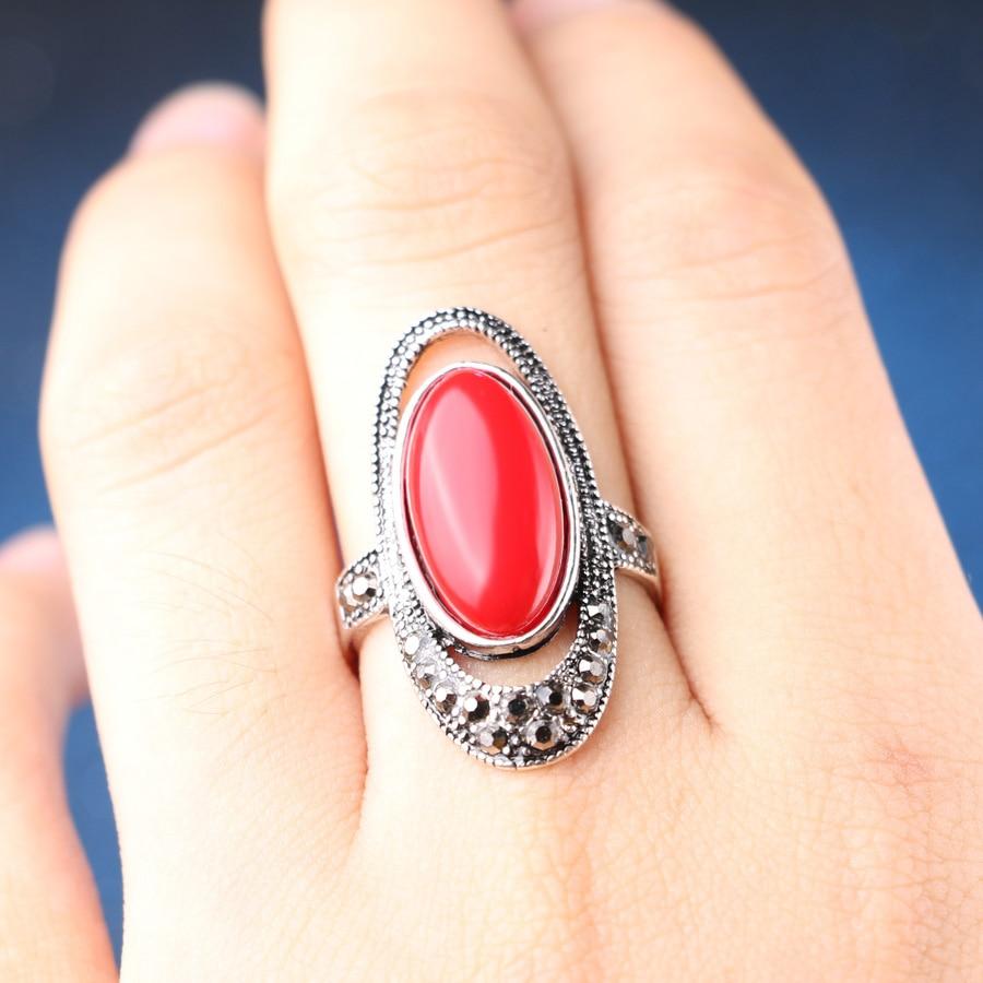 Fashion Women Jewelry New Retro Antique Silver Color Black Resin Mosaic Rhinestone Ring For
