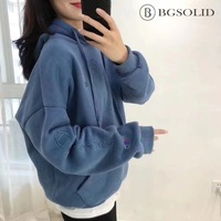 2019 spring new Winner in the same avocado plus velvet embroidered hooded hoodie Sweatshirts women