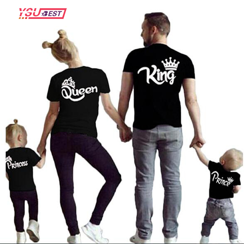 New Matching Family Shirts Family Matching Clothes Matching Father Mother Daughter Son Clothes Cotton T-shirt King Queen Clothes