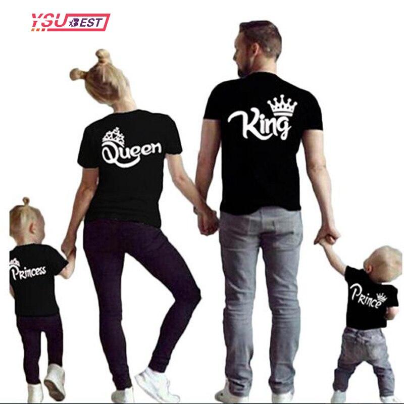 Nouveau Correspondant À La Famille Chemises Famille Correspondant Vêtements Assortis Père Mère Fille Fils Vêtements Coton T-shirt Roi Reine Vêtements