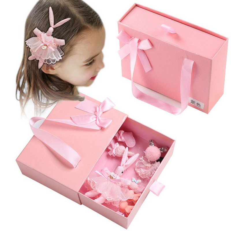 LOEEL Girls Headdress Set Gift Box Set 8-10pcs/set Korean Children Hair Accessories Hairpins Princess Tie Rabbit Hair Clip Set