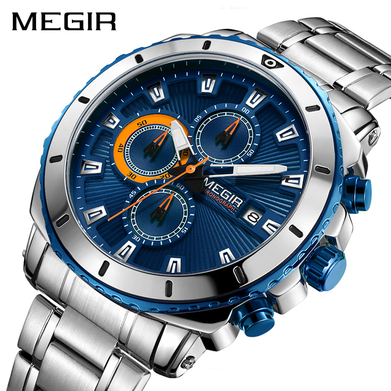 MEGIR Top Brand Luxury Men Quartz Watch with Stainless Steel Band Chronograph Business Wrist Watches Men Clock Relogio Masculino megir top brand luxury men quartz watch stainless steel band men fashion business watches men leisure clock relogio masculino