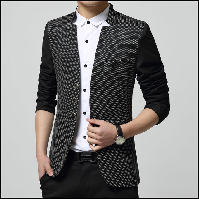 24443997bf954 2015 New arrival casual black blazer men slim fit stand collar dot point  cotton men suit top quality costume homme