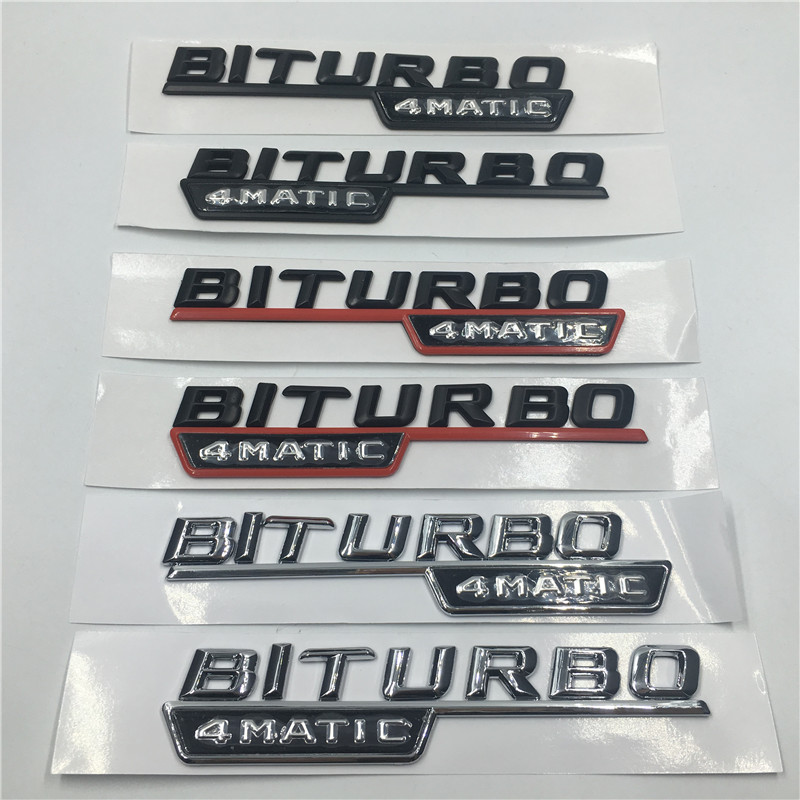 1 pair TURBO ////////AMG Letters Trunk Badge Emblem Sticker for Mercedes-Benz AMG