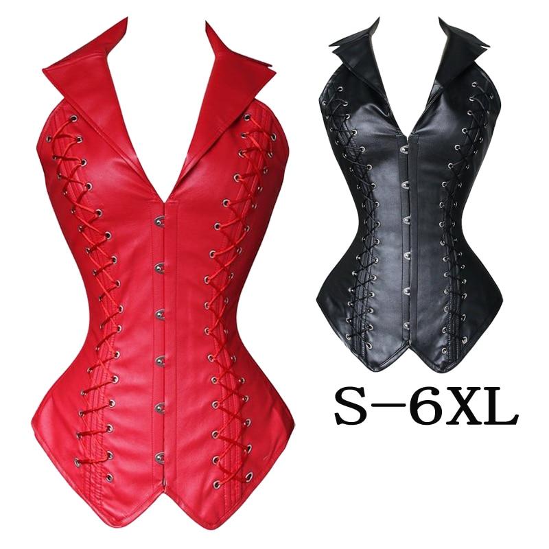 Womens long corset Shapewear Faux Leather Steel Bond Steampunk Bustier Corset Gothic Bustier Sexy Lingerie plus size S-6XL