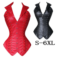 Womens long corset Shapewear Faux Leather Steel Bond Steampunk Bustier Corset Gothic Bustier Sexy Lingerie plus size S 6XL
