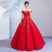 Red Evening Dresses 2019 Lace Appliques Sequined Satin Ball Gown Off Shoulder Sweetheart Prom Long Walk Beside You