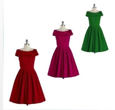 New arrival ladies vintage 1950s dresses red /green /rose ...