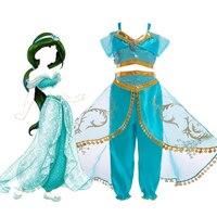 Kids Girls Aladdin Costume Princess Jasmine Cosplay Outfit Girls Halloween Fancy Dress