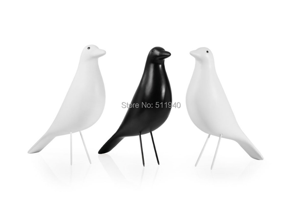 1 piece replica black and white color solid wood eames house bird