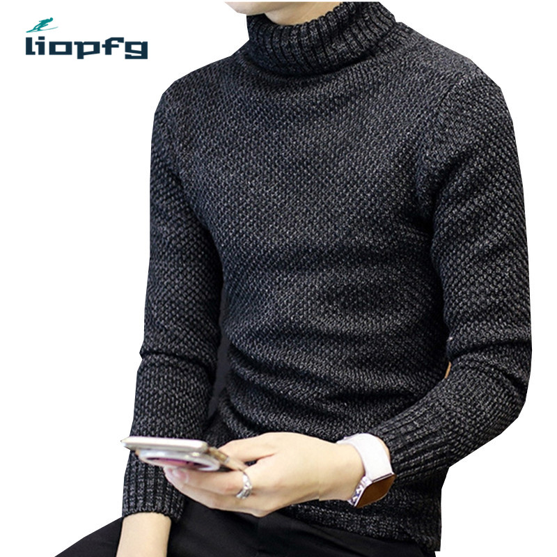 2017 men s sweater New Leisure Round Neck Wool Pullover Color Solid Sweater High Collar Head