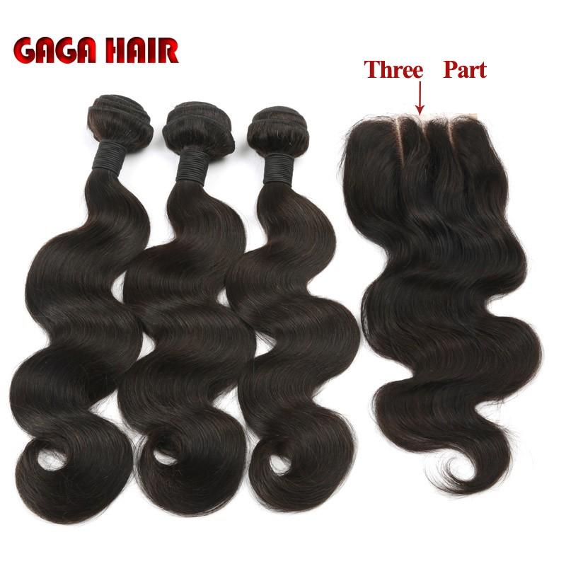 Brazilian Virgin Hair Weft Body Wave 3pcs Human Hair Weave Bundles with 1pcs Lace Closure GaGa Hair Products Hair Extensions (39)