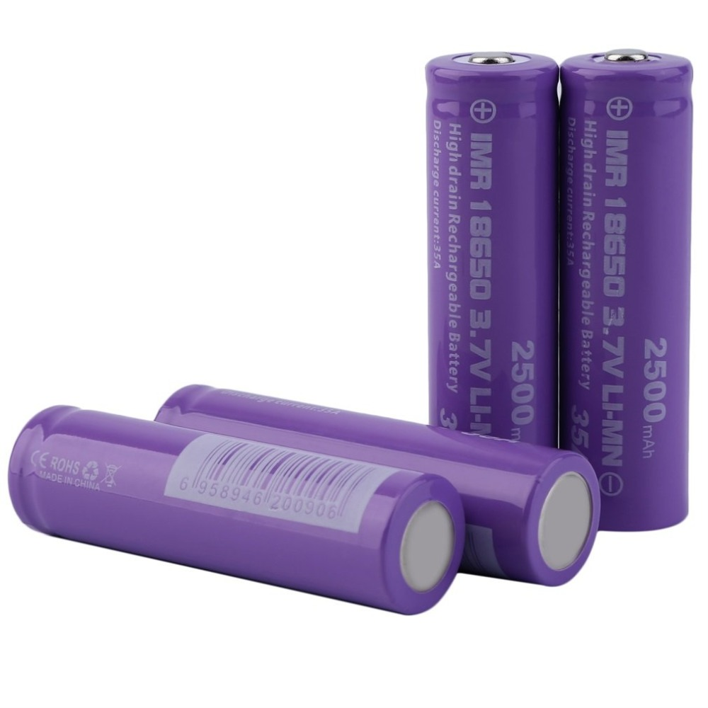 4pcs High Drain INR <font><b>18650</b></font> Battery Discharge Current 35A 3.7V High Performance Rechargeable Battery <font><b>2500mAh</b></font> image