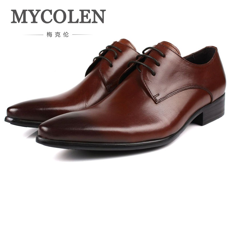 MYCOLEN Genuine Leather Mens Dress Shoes Pointed Toe Oxford Shoes For Men Lace-Up Business Breathable Men Wedding Shoes mycolen leather mens dress shoes high quality breathable oxford shoes for men lace up business brand men wedding shoes