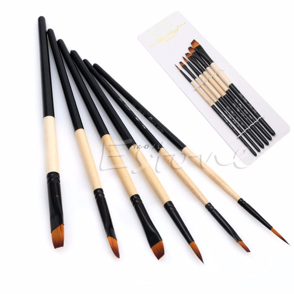 New Hot 6Pcs/Set Flat Nylon Hair Paint Brush Gouache Acrylic Oil Painting Art Craft