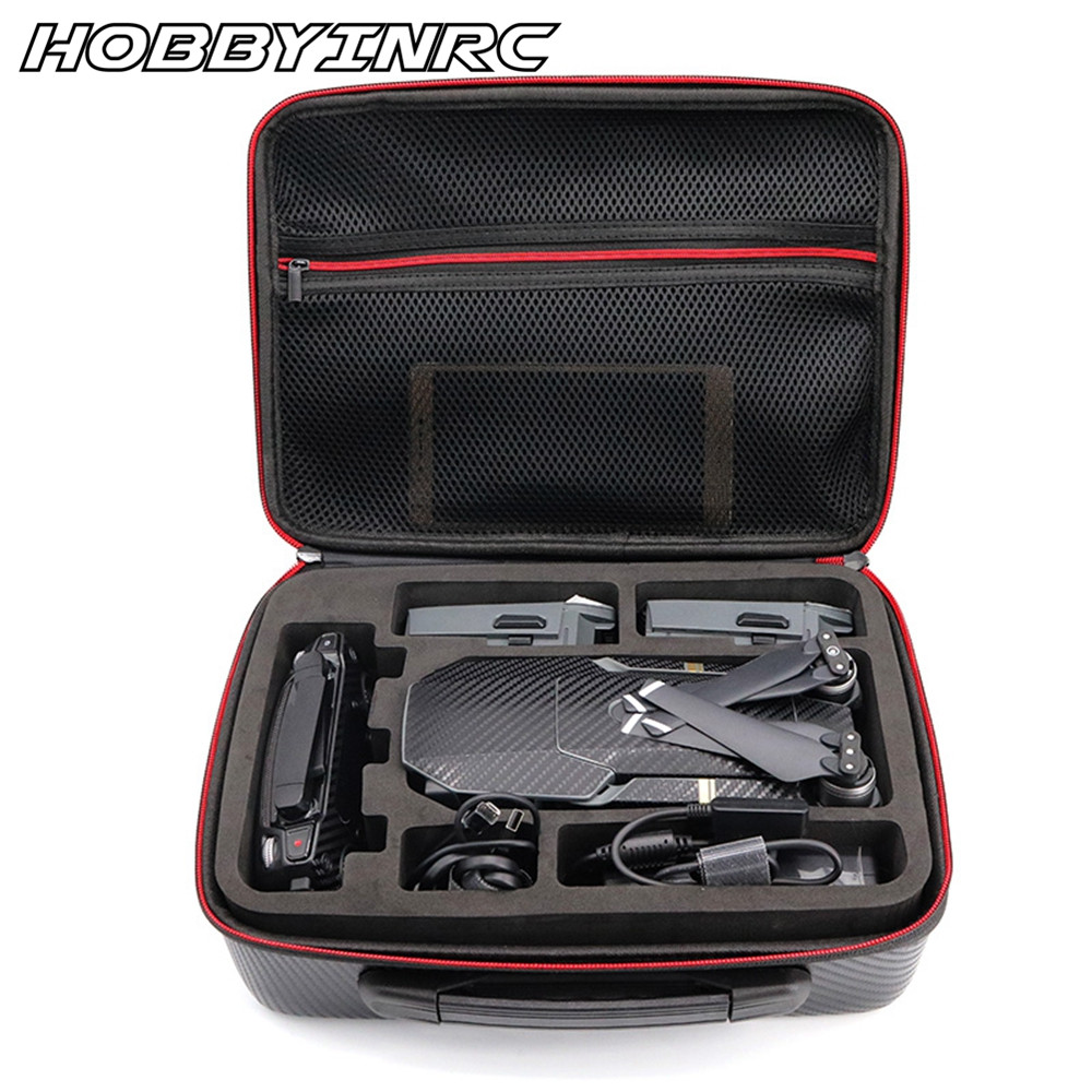 HOBBYINRC PU Carbon Grain Backpack Hard Portable Bag Shoulder Storage Bag Water-resistant Portable  for DJI Mavic Pro rc dji mavic pro professional waterproof drone bag hardshell portable case handbag backpack battery charger storage bag
